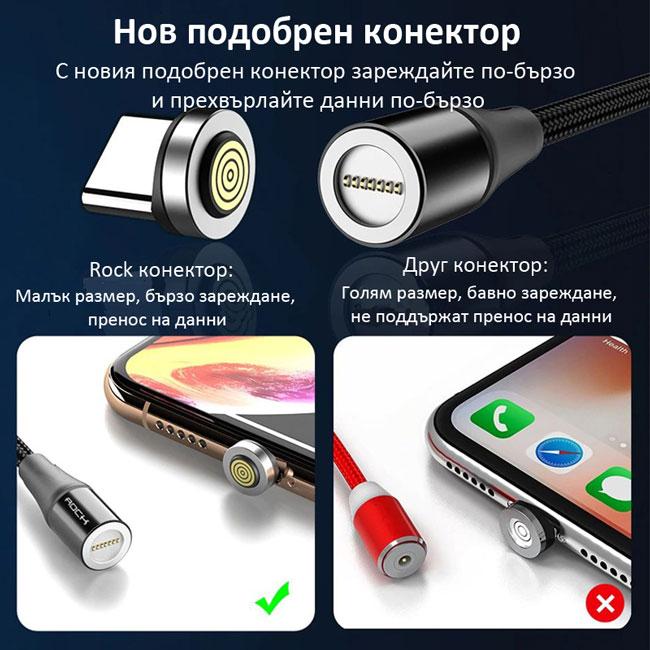 Магнитен кабел зарядно за зареждане телефон